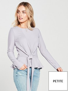 lost-ink-petite-asymmetrical-tie-front-top-grey
