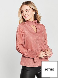 lost-ink-petite-pleat-neck-textured-blouse-blush