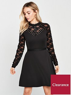 lost-ink-petite-trim-and-lace-fit-and-flare-scuba-dress-black