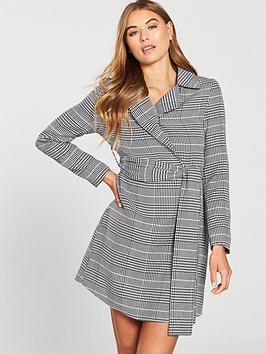 Lost Ink Check Belted Blazer Dress - Black/White