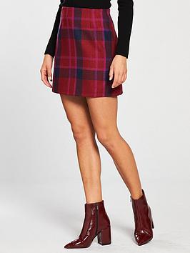 Lost Ink Check Mini Skirt - Purple