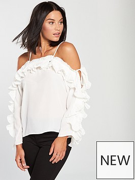 ax-paris-ruffle-sleeve-cold-shoulder-top-cream