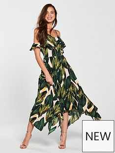 ax-paris-leaf-print-cold-shoulder-floaty-hanky-hem-midi-dress-green