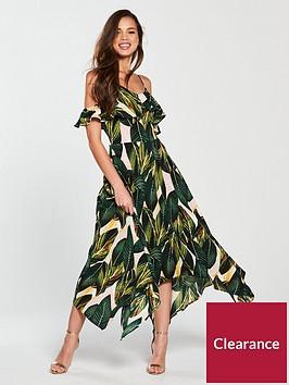 ax-paris-leaf-print-cold-shoulder-floaty-hanky-hem-midi-dress-green