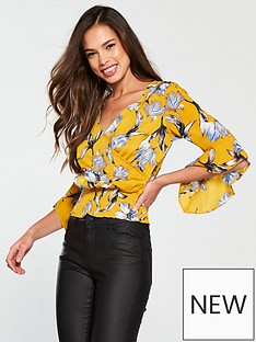ax-paris-floral-print-shirred-hem-wrap-top-yellow