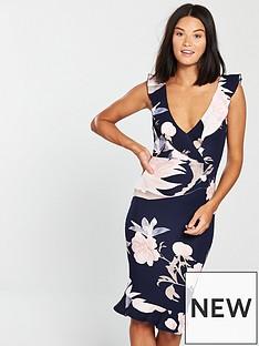ax-paris-floral-print-frill-hem-midi-dress-navy