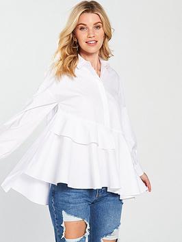 Lost Ink Asymmetric Layered Smock Shirt - White