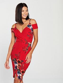ax-paris-floral-print-cold-shoulder-wrap-mini-dress-red
