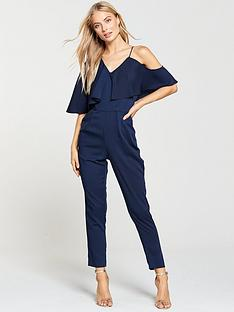 c07beced06 Lavish Alice Asymmetric Off The Shoulder Tapered Jumpsuit - Navy