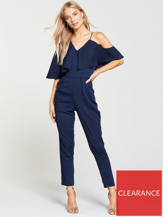 de3c4013635 Lavish Alice Asymmetric Off The Shoulder Tapered Jumpsuit - Navy ...