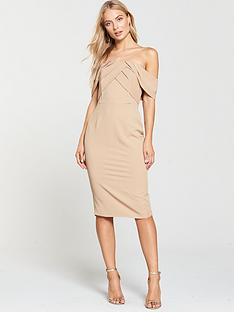 lavish-alice-bardot-pleated-double-layer-midi-dress-nude