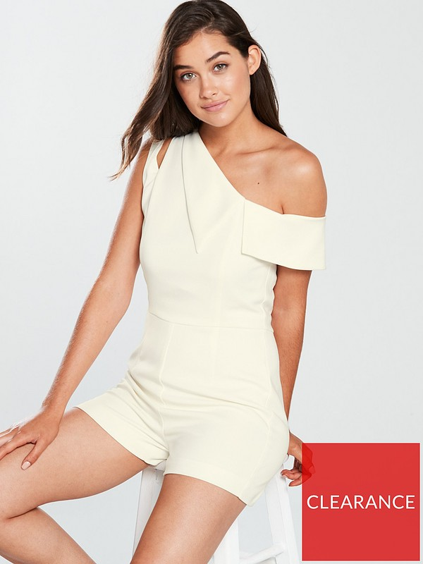 a5a0550e81fa Lavish Alice One Shoulder Asymmetric Playsuit - White
