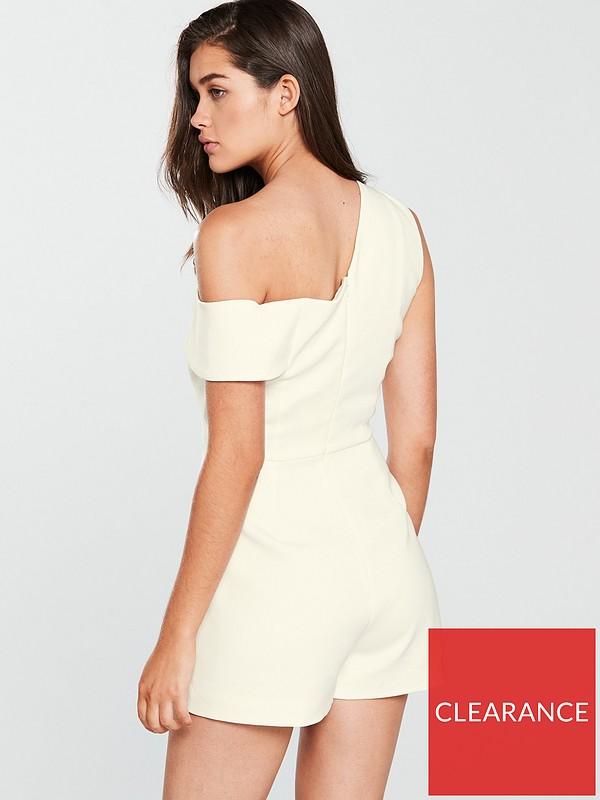 76d480fd45e Lavish Alice One Shoulder Asymmetric Playsuit - White