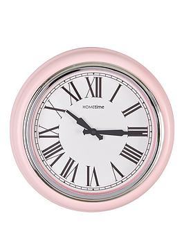 hometime-plastic-wall-clock-pink-amp-chrome-bezel-32cm