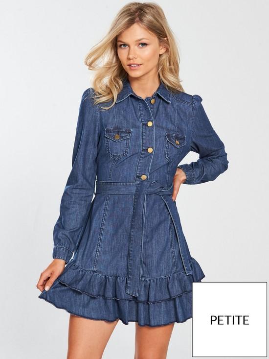 ad3eb4c198 V by Very Petite Ruffle Hem Long Sleeved Denim Dress - Dark Wash ...