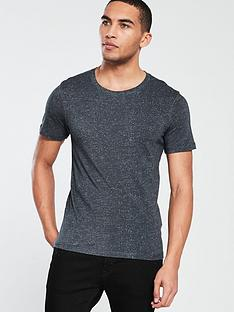 selected-homme-short-sleeve-clinton-herringbone-t-shirt-dark-navy