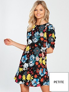 v-by-very-petite-ruched-sleeve-tea-dress-printed