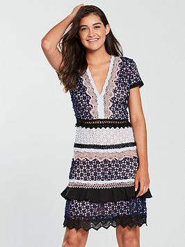 forever-unique-mini-v-neck-lace-dress-navy