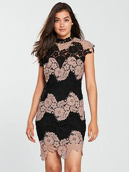 forever-unique-forever-unique-high-neck-lace-bodycon-mini-dress-nudeblack