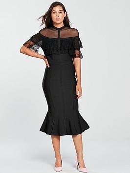 Forever Unique Bandage Cape Bodycon Midi Dress - Black