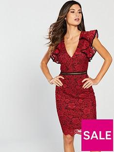 forever-unique-frill-shoulder-lace-mini-dress-red