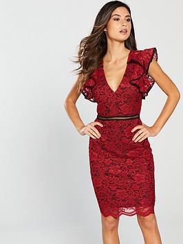 Forever Unique Frill Shoulder Lace Mini Dress - Red