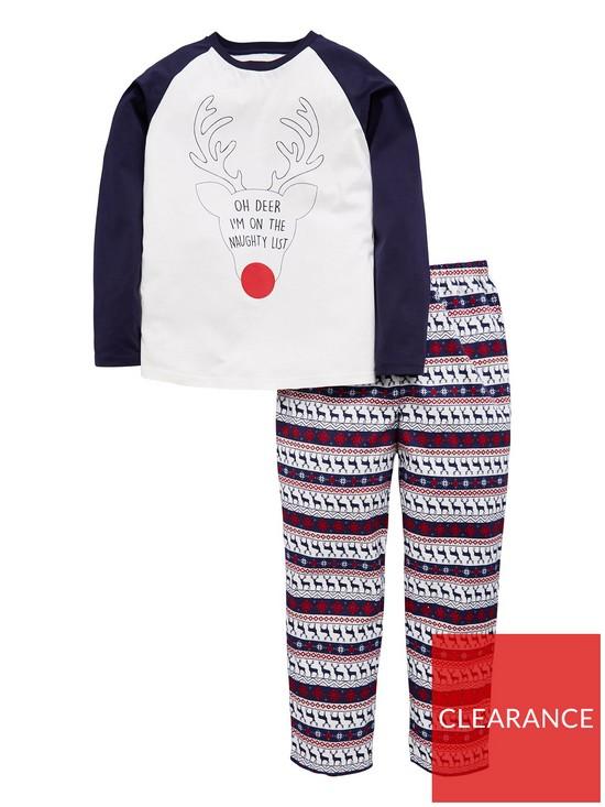 ad58429ddc Mini V by Very Unisex OH Deer I m on the Naughty List Family Christmas  Pyjama