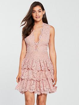 Forever Unique Forver Unique Lace Frilled Skirt Skater Dress - Dusty Pink