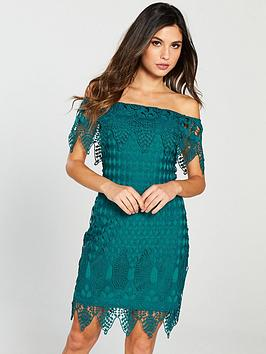 Forever Unique Bardot Mini Dress - Green