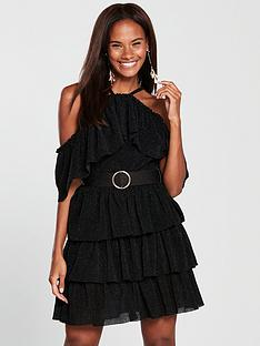 forever-unique-frill-layer-dress-with-belt-black
