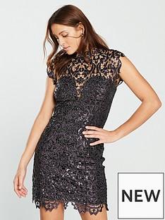 forever-unique-high-neck-sequin-lace-mini-dress-purple