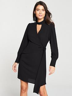 v-by-very-choker-wrap-dress-black