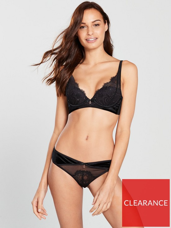 9b32e756b2 B By Ted Baker Bold Lace Embellished Plunge Bra - Black