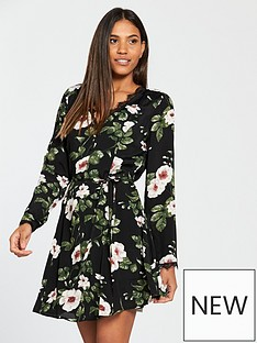 v-by-very-lace-trim-tea-dress-floral-print