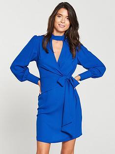 v-by-very-choker-wrap-dress-cobalt