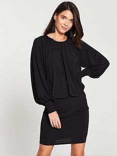 v-by-very-blouson-top-mini-dress-black