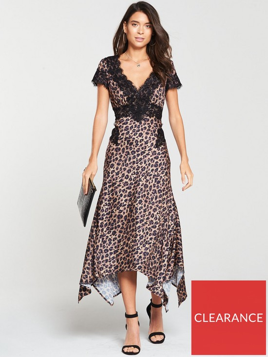 a7f95f5410 V by Very Leopard And Lace Midi Dress - Print