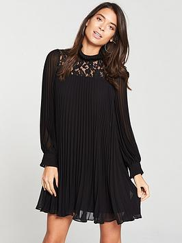 v-by-very-pleated-lace-tunic-dress-black