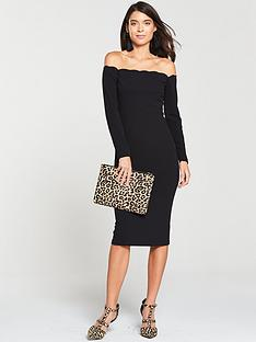 v-by-very-scalloped-bodyconnbspmidinbspdress-black