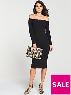 V by Very Scalloped Bodycon Midi Dress - Black f1aaadcad