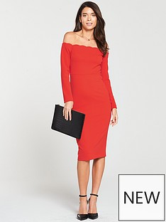 da04fda2d743 V by Very Scalloped Off Shoulder Bodycon Dress - Red