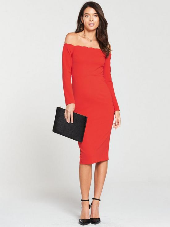 cc13e6d7c48 V by Very Scalloped Off Shoulder Bodycon Dress - Red
