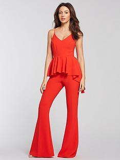 7a5f0584da8 Michelle Keegan Peplum Wide Leg Jumpsuit - Red