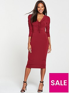 e6305ded5a7 V by Very Ruched Front Ity Bodycon Dress - Burgundy