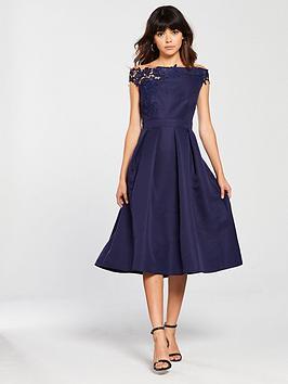 little-mistress-embroidered-top-bardot-midi-skater-dress-navy