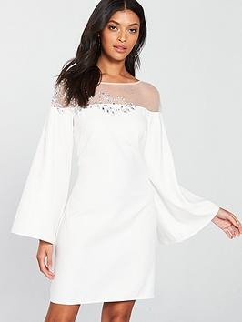 little-mistress-fluted-sleeve-embellishednbspdetail-shift-dress-white
