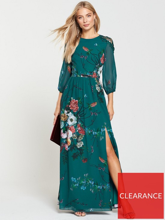 5097c93688f4 Little Mistress Vintage Fit And Flare Maxi Dress - Floral Print ...