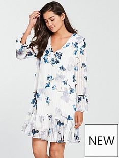 religion-glisten-drop-hem-printed-shift-dress-whiteblue