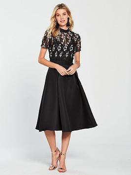 little-mistress-high-neck-monochrome-lace-skater-midi-dress-blacknbsp