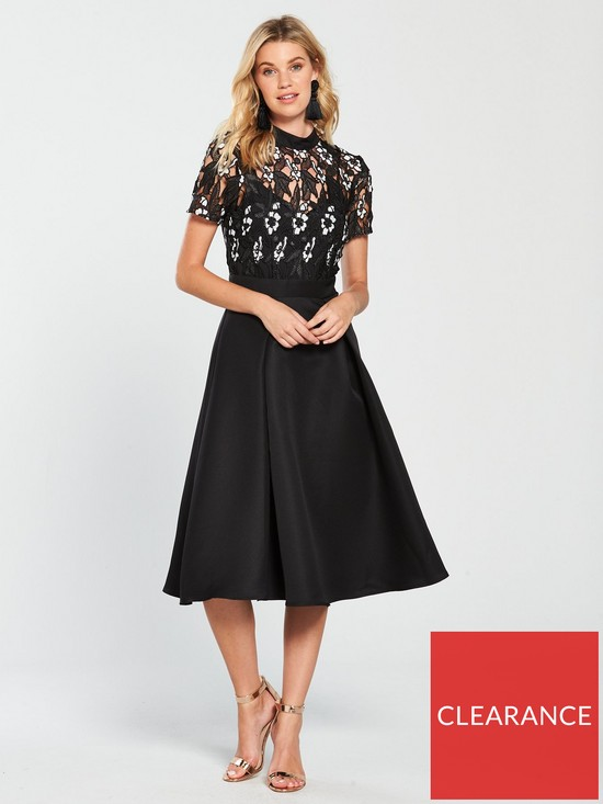 Little Mistress High Neck Monochrome Lace Skater Midi Dress - Black ... 37cbc7306